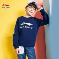 Sweater / sweater Ling / Li Ning Navy BLUE-6 Navy Blue cinnabar red crystal blue new standard black male 110cm 120cm 130cm 140cm 150cm 160cm 170cm 175cm summer nothing leisure time Socket routine Official pictures other other Cotton 66% polyester 34% YWDN087-2 Class B Summer 2020
