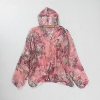 short coat Summer of 2018 Long sleeves routine Thin money singleton  easy Sweet routine Crew neck Single breasted Plants and flowers 25-29 years old 96% and above silk silk