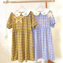 Dress Summer 2020 Blue, yellow Average size Mid length dress singleton  Short sleeve Sweet routine 18-24 years old Type A cotton solar system