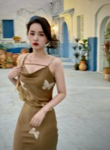 Dress Summer 2021 Retro Lilu XS,S,M,L Middle-skirt singleton  Sleeveless Sweet Dangling collar High waist Decor Socket One pace skirt other camisole 18-24 years old Type X Zhang honey More than 95% other other