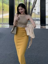 Dress Summer 2021 Green with turmeric, orange with rose powder Average size Mid length dress singleton  Sleeveless Sweet Crew neck High waist other Socket One pace skirt other Hanging neck style Type X Zhang honey 31% (inclusive) - 50% (inclusive) knitting other