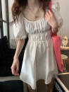 Dress Spring 2021 Black, white Average size singleton  Short sleeve commute square neck Loose waist Solid color puff sleeve straps Type A Korean version S8513 dress (4.6) 31% (inclusive) - 50% (inclusive)