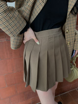 skirt Autumn 2020 S,M,L,XL Black, gray, card Short skirt commute High waist A-line skirt Solid color Type A 18-24 years old 8666 pleated skirt (9.21) 31% (inclusive) - 50% (inclusive) Sinbounboun Korean version