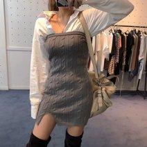 Dress Spring 2020 Khaki, black, grey Average size Short skirt singleton  Sleeveless commute High waist Solid color Socket One pace skirt Breast wrapping Korean version
