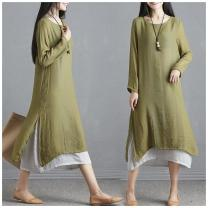Women's large Summer 2020 Dress Fake two pieces other Self cultivation moderate Socket Long sleeves Solid color Crew neck cotton 91% (inclusive) - 95% (inclusive) longuette other