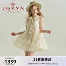 Dress Summer 2021 Rose powder (pre-sale, delivery within 30 days after payment) milk honey yellow (pre-sale, delivery within 30 days after payment) S M L XL Short skirt Short sleeve Sweet other middle-waisted Three buttons Ruffle Skirt routine 25-29 years old Type A JORYA weekend EJWBBQ04 other other