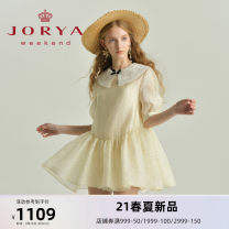 Dress Spring 2021 S M L XL Short skirt Short sleeve Sweet Doll Collar middle-waisted zipper puff sleeve 25-29 years old Type H JORYA weekend Pleated lace More than 95% other Other 100% princess Same model in shopping mall (sold online and offline)