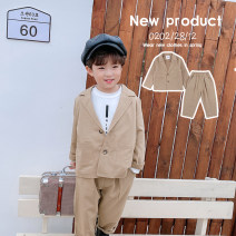 suit Water spray khaki neutral spring and autumn Korean version Long sleeve + pants 2 pieces routine There are models in the real shooting Single breasted nothing Solid color Cotton blended fabric children Expression of love Class A Polyester 75% cotton 21% polyurethane elastic fiber (spandex) 4%