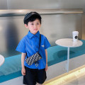 shirt blue Water spray male 90 / recommended height 85-95cm, 100 / recommended height 95-100cm, 110 / recommended height 100-110cm, 120 / recommended height 110-120cm, 130 / recommended height 120-130cm, 140 / recommended height 130-140cm, 150 / recommended height 140-150cm summer Long sleeves