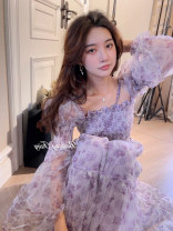 Dress Spring 2021 XS S M L longuette singleton  Long sleeves commute One word collar High waist Broken flowers Socket A-line skirt routine camisole 18-24 years old Jiugong pocket More than 95% Chiffon other Other 100%