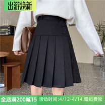 skirt Winter 2020 M,L,XL,2XL,3XL,4XL Black (tweed), black (suit) Middle-skirt commute High waist Pleated skirt Solid color Type A Wool Pleating, pleating, tridimensional decoration, buttons Korean version