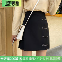 skirt Winter of 2019 M,L,XL,2XL,3XL,4XL black Short skirt Versatile High waist Pleated skirt Solid color Type A 51% (inclusive) - 70% (inclusive) other Pleating and pin decoration