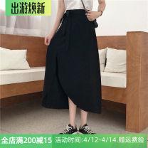 skirt Summer 2020 M,L,XL,2XL,3XL,4XL black longuette Versatile High waist Irregular Solid color Type A 51% (inclusive) - 70% (inclusive) other other