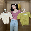 T-shirt Black, white, yellow, purple, red, apricot, fruit green Average size Summer 2021 Short sleeve V-neck Self cultivation have cash less than that is registered in the accounts puff sleeve commute other 96% and above Under 17 Korean version youth Solid color, stitching