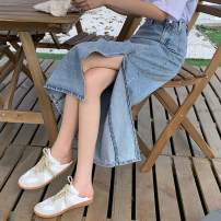 skirt Summer 2021 S,M,L,XL Mid length dress commute High waist Denim skirt 18-24 years old 31% (inclusive) - 50% (inclusive) Korean version