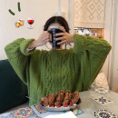 sweater Autumn 2021 Average size Green, purple Long sleeves Socket singleton  Medium length acrylic fibres 71% (inclusive) - 80% (inclusive) Crew neck thickening commute routine Solid color Straight cylinder Coarse wool Keep warm and warm 18-24 years old Hollowing out