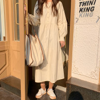 Dress Spring 2021 Apricot, blue Average size Mid length dress singleton  Long sleeves commute Crew neck High waist Solid color Big swing shirt sleeve Others 18-24 years old Type A Korean version Button 71% (inclusive) - 80% (inclusive) cotton