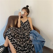 Dress Summer 2021 black S,M,L Mid length dress singleton  commute High waist Broken flowers Socket other routine camisole 18-24 years old Type A Korean version 2#28 71% (inclusive) - 80% (inclusive) other other