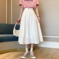skirt Summer 2021 S,M,L White, black Mid length dress commute Natural waist A-line skirt Solid color Type A 18-24 years old 31% (inclusive) - 50% (inclusive) other other Korean version 61G / m ^ 2 (including) - 80g / m ^ 2 (including)