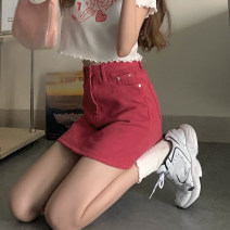 skirt Summer 2021 S,M,L Short skirt commute High waist A-line skirt Solid color Type A 18-24 years old Other / other Korean version