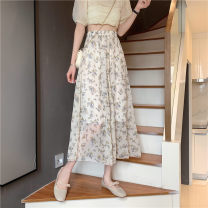 skirt Summer 2021 Average size Apricot, black Mid length dress commute High waist A-line skirt Broken flowers Type A 18-24 years old 3#15 71% (inclusive) - 80% (inclusive) other other printing Korean version