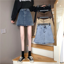 skirt Spring 2021 S,M,L Khaki, light blue, dark blue, black, coffee Short skirt commute High waist A-line skirt Solid color Type A 18-24 years old 3#4 71% (inclusive) - 80% (inclusive) other other Korean version