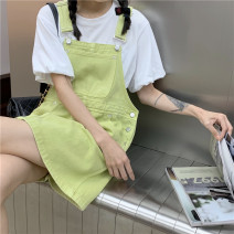 Dress Summer 2021 Fruit green S,M,L Short skirt singleton  Sleeveless commute other High waist Solid color other routine 18-24 years old Type A Korean version 4¥1