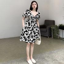Women's large Summer 2021 black and white M. Large L, large XL, 2XL, 3XL, 4XL Dress singleton  commute thin Socket Short sleeve Solid color Korean version V-neck routine Short skirt Princess Dress