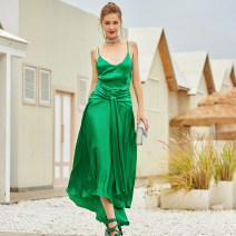 Dress Summer 2021 green S,M,L,XL longuette singleton  Sleeveless commute other High waist Solid color Socket Irregular skirt other camisole 30-34 years old Type A SJU Britain ZS-2021-20 More than 95% other silk