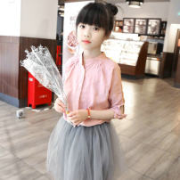 shirt Pink Other / other female 90 = 7, 100 = 9, 110 = 11, 120 = 13, 130 = 15 spring and autumn elbow sleeve Korean version Solid color cotton stand collar Class B