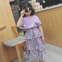 suit Other / other violet 100 = 7, 110 = 9, 120 = 11, 130 = 13, 135 = 15, 145 = 17, 155 = 19 female summer Korean version Short sleeve + skirt 2 pieces Thin money There are models in the real shooting Socket nothing Broken flowers other children Expression of love See description Class B Other 100%
