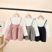Dress Grey, blue, pink female Other / other 90 = 7, 100 = 9, 110 = 11, 120 = 13, 130 = 15 Other 100% summer leisure time Short sleeve Solid color cotton Lotus leaf edge Class B Seven, eight, three, six, two, five, four Chinese Mainland