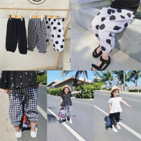 trousers Other / other female 100 = 7, 110 = 9, 120 = 11, 130 = 13, 140 = 15 Black, dot, check summer trousers Korean version There are models in the real shooting Knickerbockers Leather belt middle-waisted cotton Don't open the crotch Other 100% empty