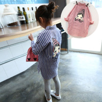 shirt Blue, red Other / other female 100 = 7, 110 = 9, 120 = 11, 130 = 13, 140 = 15 spring and autumn Long sleeves Korean version stripe cotton Lapel and pointed collar Other 100% G2-4 Class A