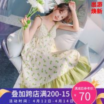 Nightdress Other / other Yellow, green Average size Sweet camisole Leisure home longuette summer Plants and flowers youth V-neck cotton printing pure cotton