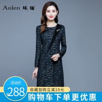 Dress Winter of 2019 Gold stamping on green background M L XL 2XL 3XL Mid length dress singleton  Long sleeves commute Crew neck middle-waisted Socket One pace skirt routine Others 35-39 years old Type A Ellen Simplicity Three dimensional decorative zipper AL19915 More than 95% polyester fiber