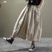 Casual pants Apricot, black, army green Average size Spring 2021 Cropped Trousers Knickerbockers High waist commute routine 96% and above To drill pocket