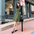Women's large Winter of 2018, autumn of 2018 Picture color Big L, big XL, big XXL, big XXXL, 4XL Dress Two piece set commute Self cultivation moderate Conjoined Solid color Korean version Half open collar Medium length polyester Three dimensional cutting bishop sleeve Other / other 18-24 years old