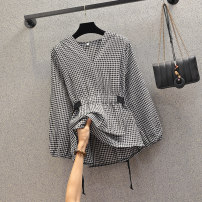 Women's large Spring 2020 Picture color Large XL, large XXL, large XXL, large XXXXL, large XXXXL T-shirt singleton  commute easy thin Socket Long sleeves lattice Korean version V-neck routine acrylic fibres Three dimensional cutting Princess sleeve 81% (inclusive) - 90% (inclusive) Lotus leaf edge