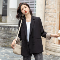 Women's large Spring 2020 suit singleton  commute Self cultivation moderate Cardigan Long sleeves Solid color Ol style Half open collar routine polyester Three dimensional cutting routine Other / other 25-29 years old 51% (inclusive) - 70% (inclusive) Three buttons