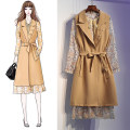 Women's large Autumn of 2019 khaki Large XL, large XXL, large XXL, large XXXXL, large L Dress Two piece set commute easy thick Cardigan Long sleeves Decor Korean version Lotus leaf collar Medium length polyester Three dimensional cutting shirt sleeve Other / other 25-29 years old pocket Medium length