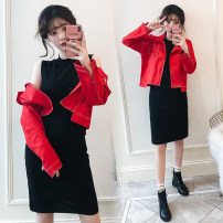 Women's large Autumn of 2019 Red, black Large XL, large XXL, large XXL, large XXXXL, large XXXXL Dress Two piece set commute easy moderate Cardigan Long sleeves Solid color Korean version Polo collar routine Denim, cotton Three dimensional cutting routine Other / other Medium length Pencil skirt