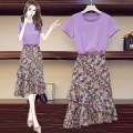 Women's large Summer 2020 Picture color Dress Two piece set commute Self cultivation moderate Socket Short sleeve Solid color Korean version Crew neck Medium length cotton fold routine 25-29 years old 91% (inclusive) - 95% (inclusive) Medium length Cake skirt
