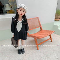 Dress Black Navy Dress (in stock), black Navy Dress (pre-sale) female Other / other 100cm,110cm,120cm,130cm,140cm,150cm Cotton 90% other 10% spring and autumn Korean version Long sleeves Solid color other Suit skirt 2 years old, 3 years old, 4 years old, 5 years old, 6 years old