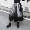skirt Spring 2020 S,M,L black longuette street High waist A-line skirt Solid color Type A 25-29 years old 81% (inclusive) - 90% (inclusive) Lace Other / other polyester fiber Stitching, lace 61G / m ^ 2 (including) - 80g / m ^ 2 (including) Europe and America