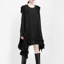Dress Spring 2020 White, black Average size Mid length dress singleton  Long sleeves commute Crew neck Loose waist Solid color Socket Irregular skirt routine Others 25-29 years old Type A Other / other Korean version Auricularia auricula, lotus leaf, stitching More than 95% other cotton
