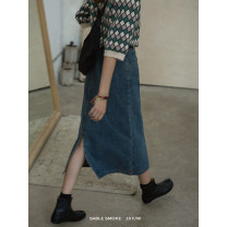 skirt Autumn 2020 S,M,L navy blue Mid length dress commute High waist A-line skirt Solid color Type A 18-24 years old S7998# 91% (inclusive) - 95% (inclusive) Denim cotton Retro