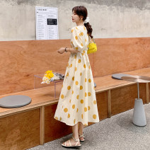 Dress Summer 2021 Yellow, black S,M,L Mid length dress singleton  Long sleeves commute V-neck Dot Socket routine 25-29 years old Type A Other / other lady More than 95%
