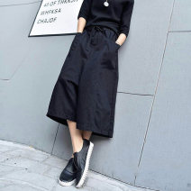 Casual pants Black, black (summer thin) Average size Autumn 2020 Cropped Trousers Wide leg pants Natural waist street routine 25-29 years old 81% (inclusive) - 90% (inclusive) W1336 LLS Cotton blended fabric Make old Punk Asymmetry