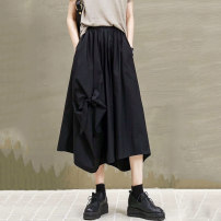 skirt Autumn 2020 Average size black Mid length dress street Natural waist Irregular Solid color Type A 30-34 years old LLSW1624-8377 81% (inclusive) - 90% (inclusive) other Other / other cotton Bowknot, fold, pocket, three-dimensional decoration, asymmetry, making old, splicing, sticking cloth Punk